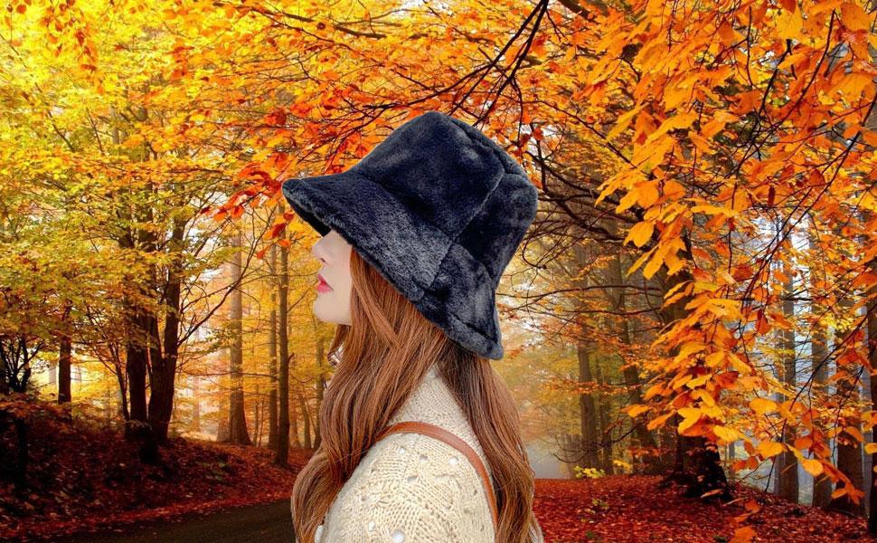 Black Starinee Women's Cute Fall Winter Fashion Warm Cozy Faux Fur Fisherman Bucket Hat Cap