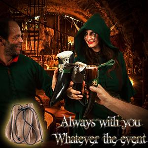 Mythrojan WOW suede leather bag SCA LARP ELF knight medieval D&D renaissance pouche renfair