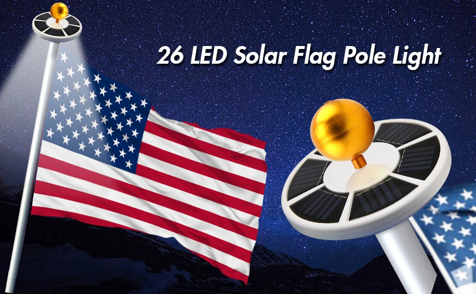 26LED Solar Powered Flagpole Super Bright Flag Pole Lamp Waterproof Light I9I3