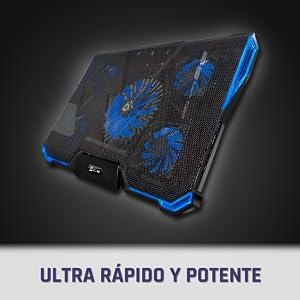 KLIM™ Cyclone - Base de Refrigeración para Portátil + Potente Refrigerador Portátil con 5 Ventiladores para ...