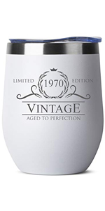 1970 50th Birthday Gifts for Women Men - 12 oz White Insulated Stainless Steel Tumbler w/Lid