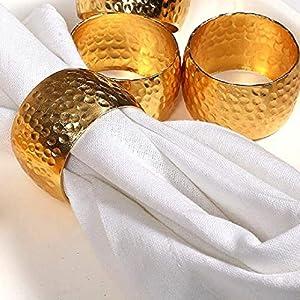 noel famille table de f/ête pour mariage d/îner Or Clinique du coton Lot de 12 M/étal Ronds de Serviettes de Table Dor/é d/écoration utilisation quotidienne