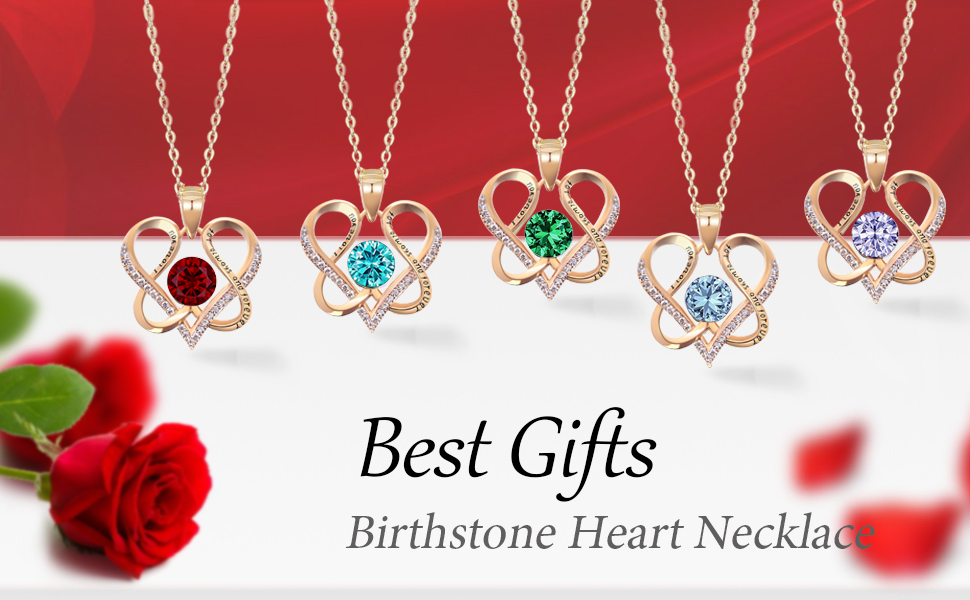 heart necklaces love birthstone necklaces