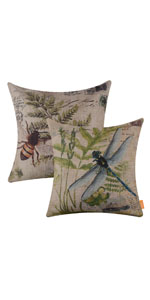 LINKWELL Dragonfly Bee Fern Pillow Cover Set of 2