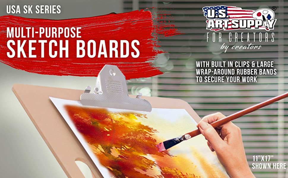 U.S. Art Supply Multi Purpose Drawing Sketch Boards with Clips & Rubber Bands