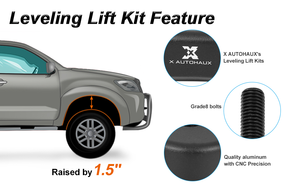 X AUTOHAUX 2 Inch Front Suspension Spring Strut Spacer Leveling Lift Kit for Ford F250 F350 Super Duty 4WD 2005-2020