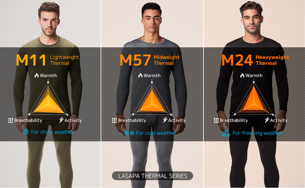LAPASA MENS FLEECE LINED THERMAL UNDERWEAR COLLECTION