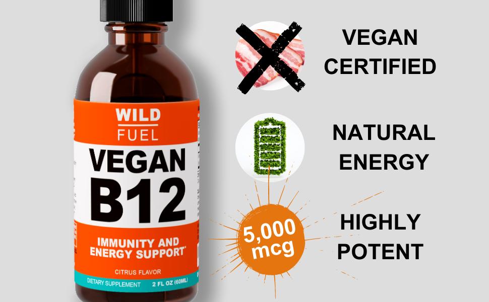 Wild Fuel sublingual vegan B12 liquid - main features