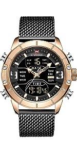 men digital sport watch rose gold