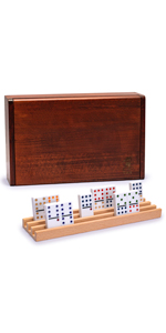 Professional Double 12 Dominoes (Pips/Dots) Game Set with Wooden Case and Racks