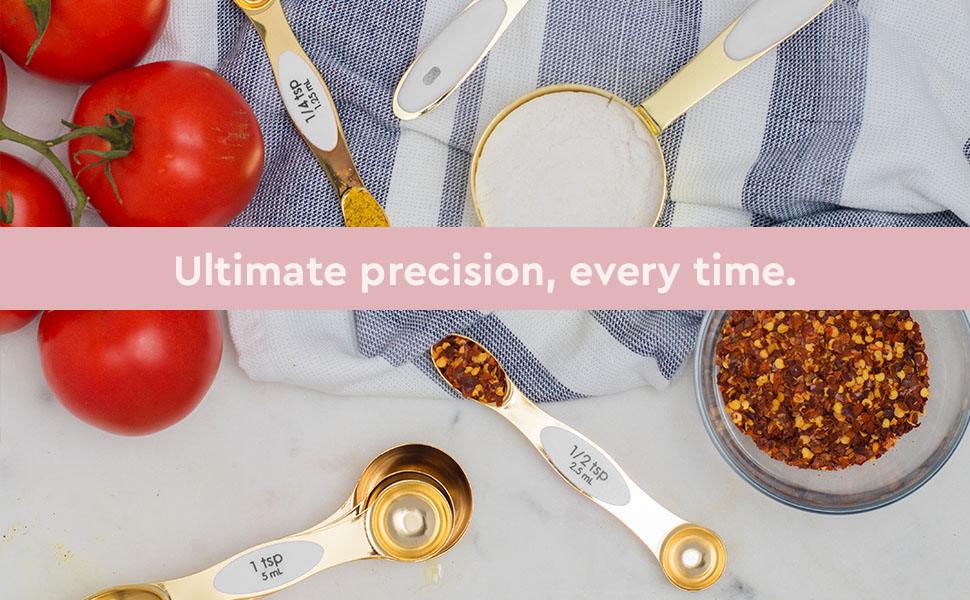 Magnetic Measuring Spoons, White and Gold, Kitchen Utensils, Styled Settings,