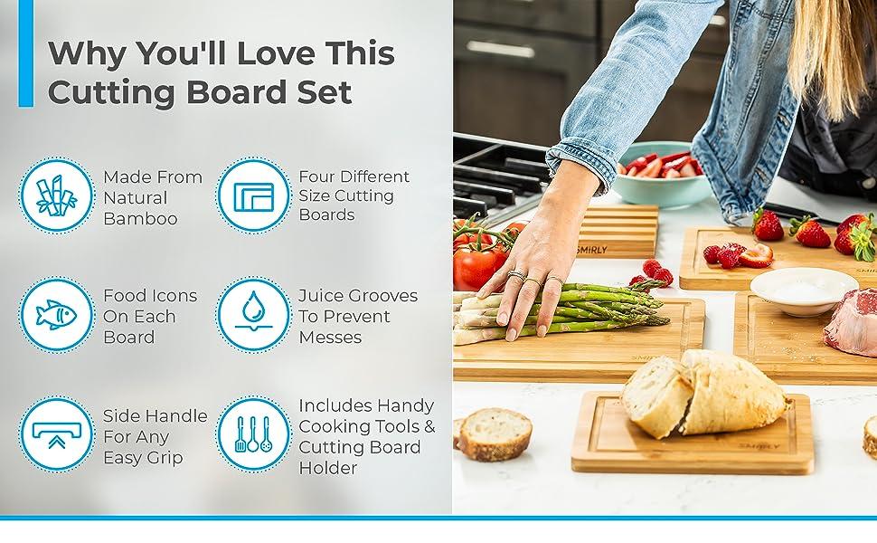 Bamboo Cutting Boards & Kitchen Utensils Set