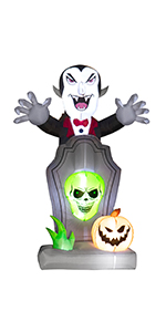 Inflatable Vampire with Pumpkin and Tumbstone
