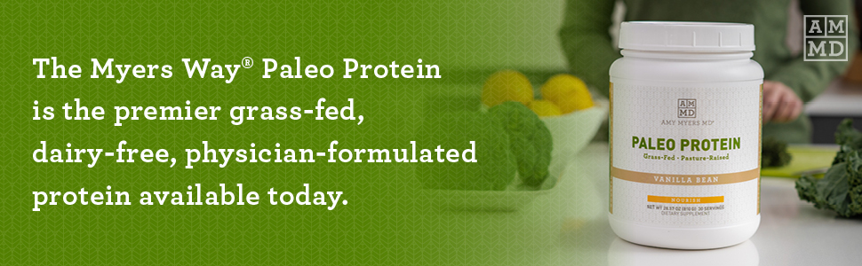 Amy Myers Paleo Protein is the premier grass-fed, dairy-free, Dr formulated protein available today