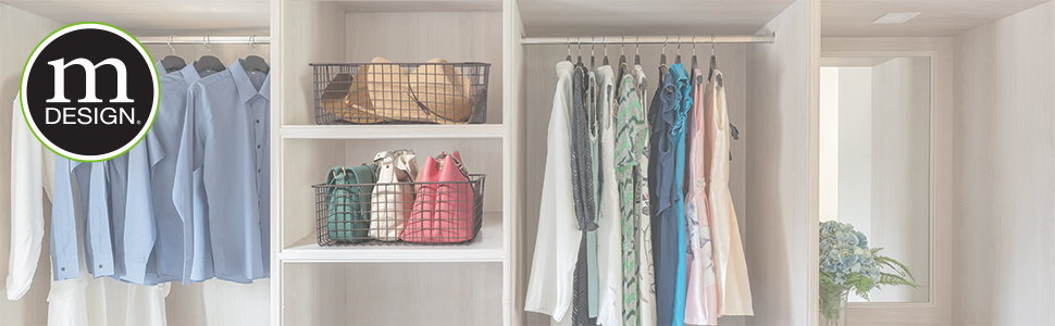 mDesign offers a plethora of storage organizational options for bedrooms closets throughout the home