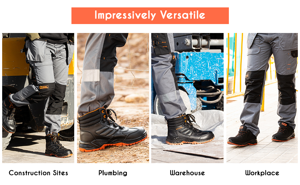 Safety boots suitable for construction sites, plumbing, workplace, construction sites and more