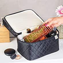 makeup bag travel large, beauty travel bag, double layer cosmetic bag, make up travel bags for women