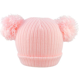 Pesci Baby Pom Pom Hats Double Bobble Hat Wooly Winter Plain Knitted Beanie Cap Newborn to 12 Months