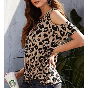 Women/'s Summer Blouse Cold Shoulder Leopard Short Sleeve Casual Tee Tops Shirt