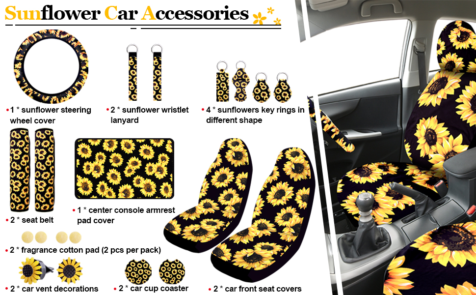 Package includes 9 kinds of lovely sunflower car accessories, 20 pieces in total