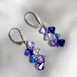 These Multicolored Purple, Lavender, Blue and Clear Crystal Earrings are Beautiful and Mesmerizing