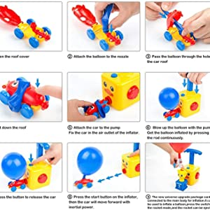 How to Play,Power Balloon Racer Car Toy, Toy Set, Balloon Powered Launch Car, Aerodynamic Cars