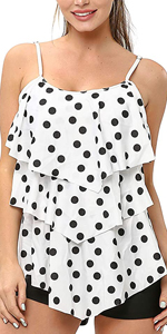 Women Tankini Swimsuits 2 Piece Polka Dot Printed Top with Boyshorts Bathing Suits