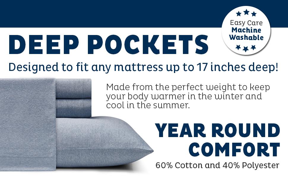 Morgan Home Cotton Rich T-Shirt Soft Heather Jersey Knit Sheet Set - All Season Bed Sheets