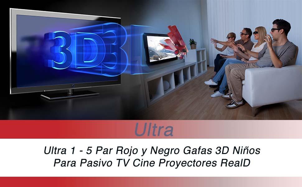 Ultra 3 Par de Rojo y Negro Gafas 3D Pasivo para Niños para Uso ...