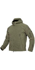 Men's Windproof Outdoor Softshell Tactical Fleece Hooded Jacket Coat