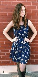 Navy Bird Midi Dress w/ Pocket LaVieLente Fashion