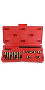 15-Piece Metric Thread Restorer Set 7 Metric Rethread Repair Tool Kit