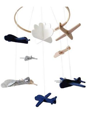 baby crib mobile cute minimalist 3D hang decor babies decoration boys girls design airplane pilot