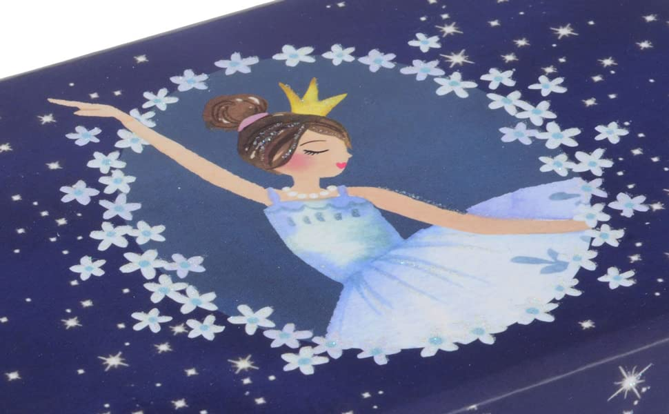 musical jewelry box for girls, dance gift, ballerina, swan lake blue