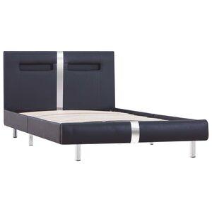 vidaXL Cadre de lit avec LED Noir Similicuir 90 x 200 cm
