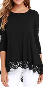 Women's Tops Lace Trim O-Neck A-Line Tunic