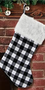 S-DEAL Black and White Plaid Christmas Stocking