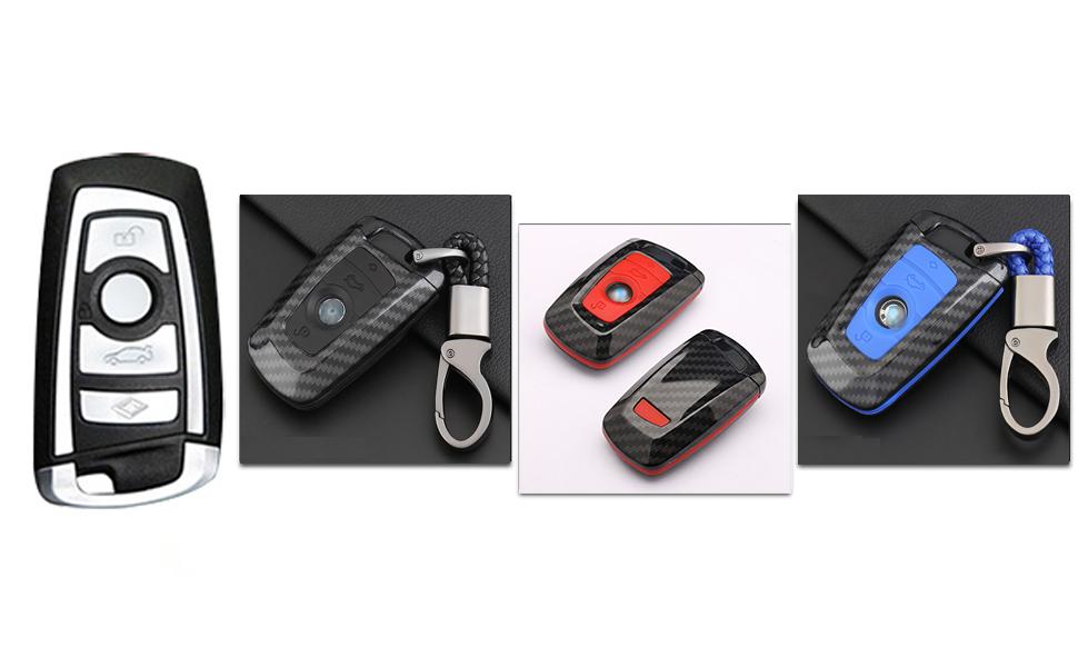 key fob cover for bmw keycase carbon fiber key chain