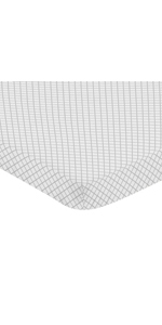 Grey and White Lattice Girl Baby Nursery Fitted Mini Portable Crib Sheet for Bunny Floral Collection