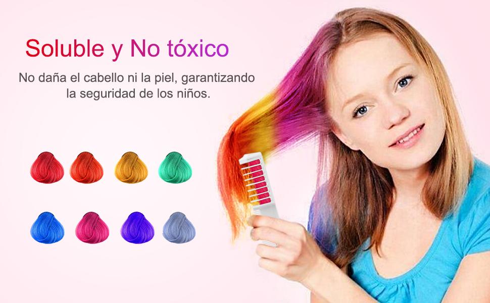 Wolady Coloración Temporal Cabello Tiza Peine Cabello Tinte Cabello 8 Colores 2 en 1 Peine Coloración Color de Cabello con Guantes y Chal Desechable ...
