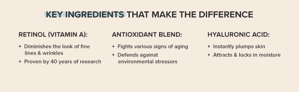 Retinol, Vitamin A, prevents signs of aging. Hyaluronic acid plumps skin and locks in moisture.