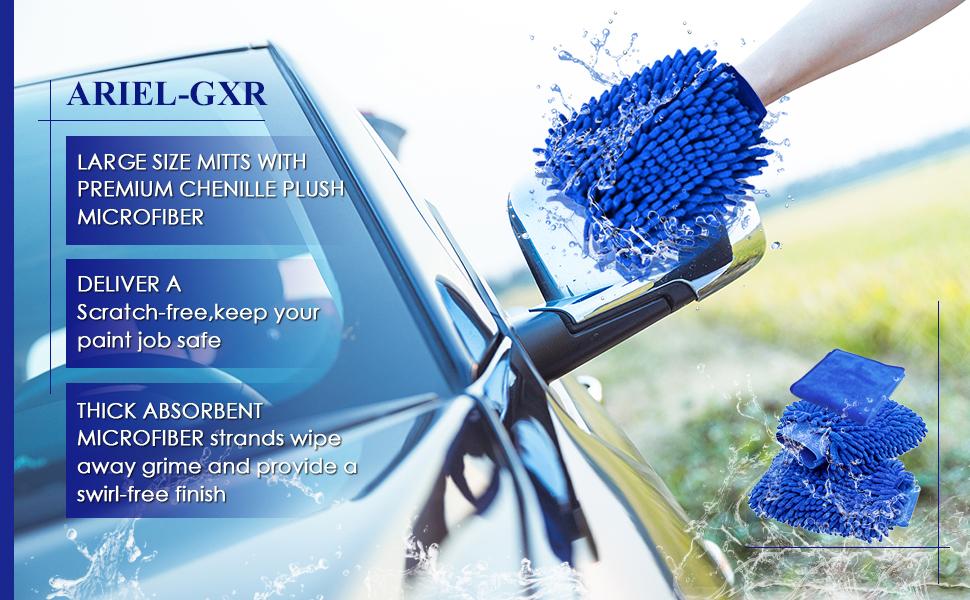 Waschhandschuh Microfaser Ariel Gxl 2 Stück Wasserdicht Auto Reinigung Mikrofaser Handschuhe Und 1 Stück Mikrofaser Reinigungstuch Reinigungshandschuhe Für Büro Fahrzeug Haushalt Auto