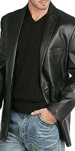BGSD Men's Judd 1-Button Leather Blazer Lambskin Sport Coat Jacket