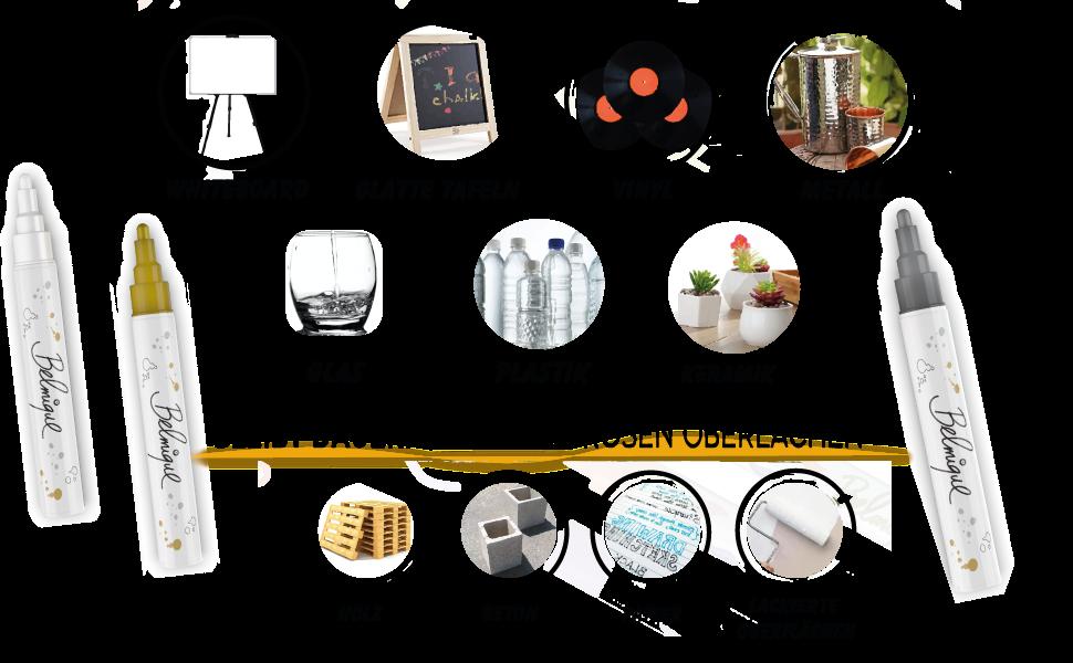 kräftige goldene kreidemarker belmique stift weiß whiteboardmarker blackboardmarker weiße-kreide