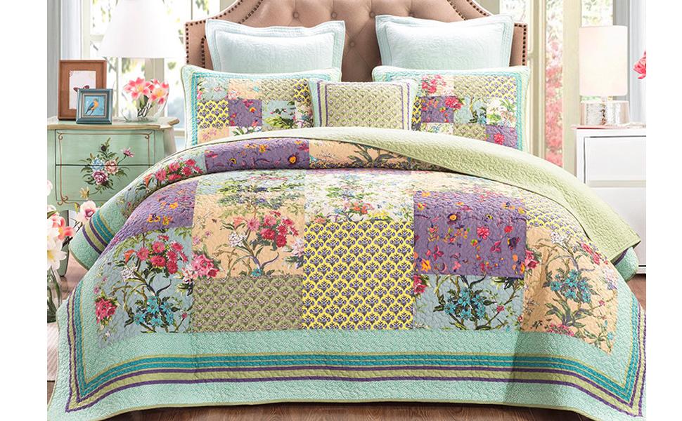 Amazon Com Encoft Flower Patchwork Quilt Sets Queen King Size 3