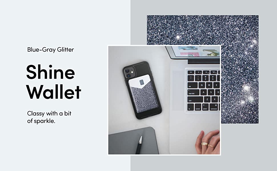 Shine Wallet Card Holder / Synthetic Leather Phone Sleeve for Phones