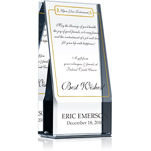 Personalized Crystal Best Wishes Retirement Gift Plaque for Coworker, Colleague, Employee