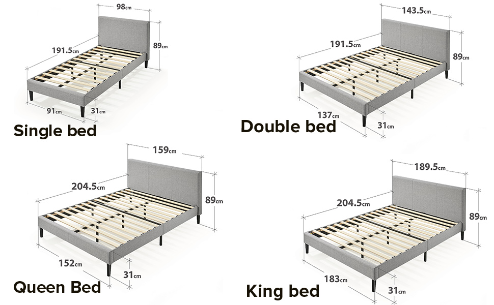 Zinus Nelly Fabric Bed Frame Size  Single Double Queen King