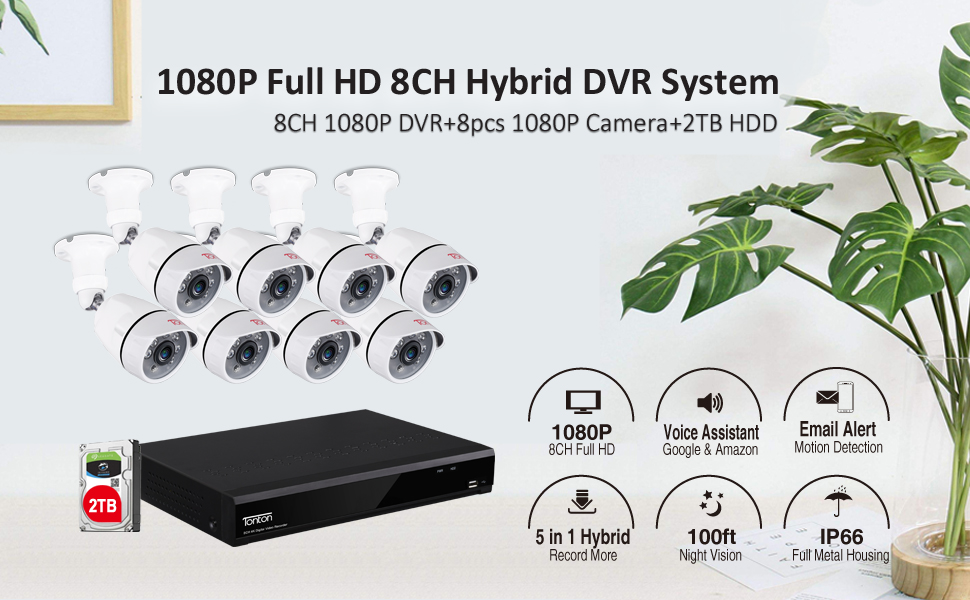 2MP 8CH DVR with 8PCS Cameras and 2TB HDD