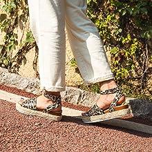 Sandalen Damen Plateau Espadrilles Sommer Sandaletten Keilabsatz Slingback